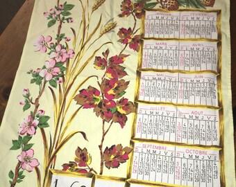 Vintage Teatowel Yellow Floral Pinecones 1969 Cotton Tea Towel Fabric Calendar