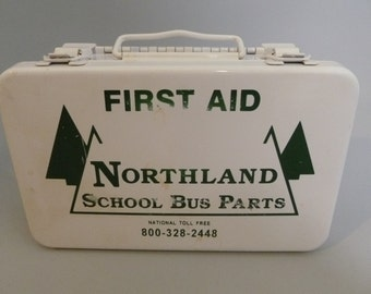 Vintage Metal Northland School Bus First Aid Box