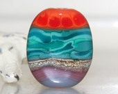 Colorful Striped Organic Handmade Lampwork Glass Beads