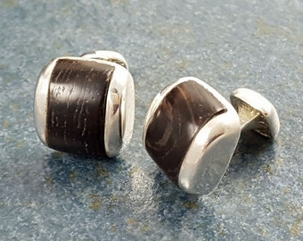 Cuff Links, Wood, wenge wood, Sterling Silver, Gift, Hand Made, Accessories