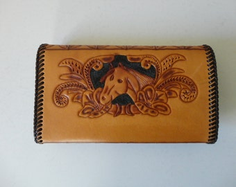VINTAGE tooled leather HORSE WALLET