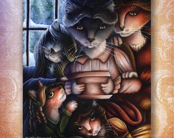 Little Women Cats, Jo, Beth, Amy, Meg, March Family, Fine Art Print 5x7