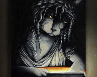 Pandora Box Cat Black and White Art Greek Myth Fine Art Print 8x10