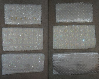 Vintage White Sequin Clutches or Evening Bags