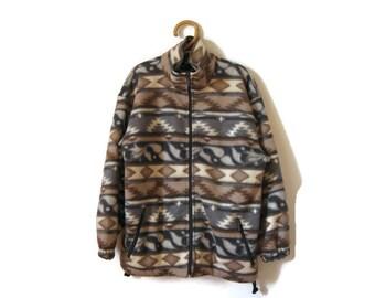 90s fleece southwest jacket coat - slouchy fleece zipper jacket- grunge clothing- baggy fleece coat- UNISEX oversize