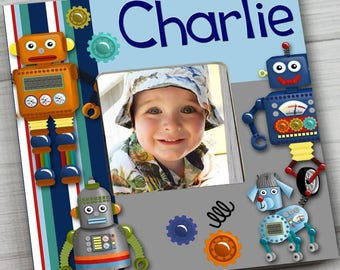 Robots Boys Bedroom Photo PICTURE FRAME for Kids Bedroom Baby Nursery Pf0101