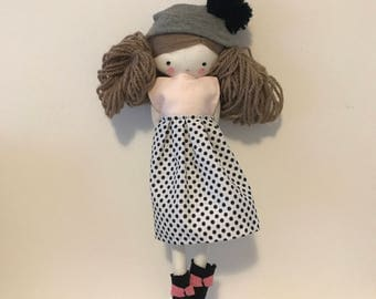 Handmade rag doll , Marilyn- ooak cloth art rag doll polka dots skirt, hat and socks toys for girls