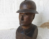 Vintage French Folk Art Sculpture, Handmade Bust of Soldier Carved Wood, Naive Vintage French Man, Country Home Display