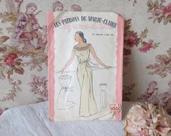 Vintage French Sewing Lingerie Pattern, 1940s Les Patrons De Marie Claire Unused Pattern, Size 44 French, Chemise de Nuit Nightgown