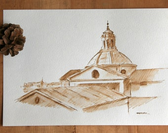 Rome view dome landscape  art ink drawing