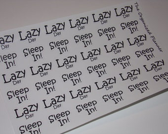 Lazy Day Stickers / Sleep In Stickers for your Erin Condren Life Planner