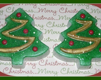 FESTIVE CHRiSTMAS TREE Soap Set Of 2 * Beautiful & Unique Holiday Gift * Gift Giving Ready * Stocking Stuffer * Home Decor * Handmade In USA