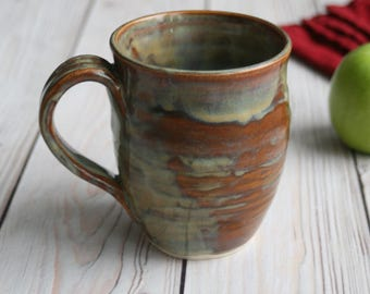 Handcrafted Coffee Cup in Earthy Brown and Sage Green Glaze Handmade Pottery Mug Ready to Ship Made in the USA