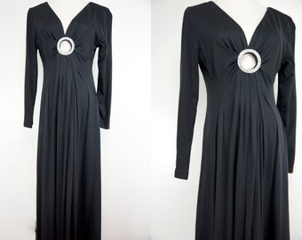 1970s Black Maxi Dress Keyhole Rhinestone Long Sleeve Plunging Disco Small Medium