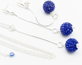 Sapphire Blue Long Chain Earrings Necklace, Jewelry Set, Swarovski Crystals Sterling Silver, Long Chain Earrings, Rhinestones Blue Jewelry