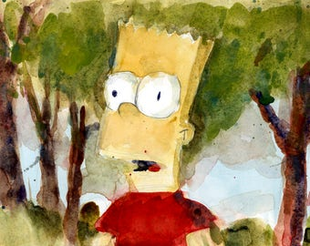 Bart Simpson -  11 X 6  Original Watercolor or Print Art - Children young and old Room