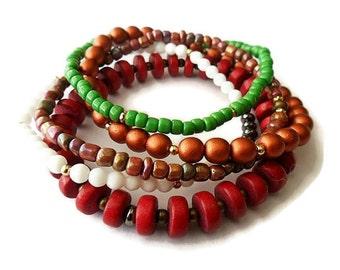 Beaded Stretchy Boho Hippie Bracelet Set | Red Green Bronze | Layering Stacking Bracelets | Everyday Wear Bohemian Style Jewellery for Women