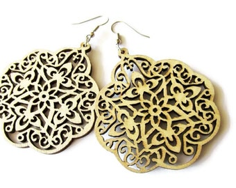 Large Natural Moroccan Style Filigree Wooden Earrings
