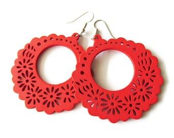 Large Red Flower Hoop Wooden Earrings   Lightweight Boho Hippie Gypsy Style Earrings   Festive Fun Party Jewelry   Lightweight Wood