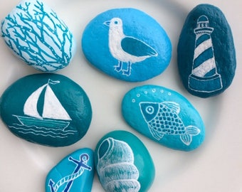 Set of 7 beach themed rocks