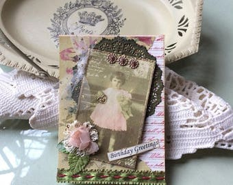 Vintage Girl Birthday Card - Young Girl Birthday Card
