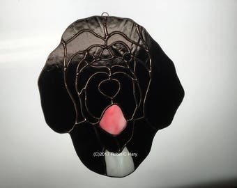 Portuguese Water Dog Suncatcher in Stained Glass