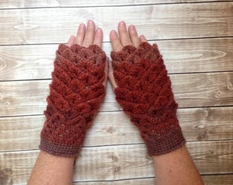 Brown and Russet Dragon Scale Fingerless Winter Gloves