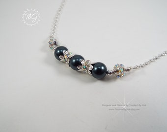 Tahitian Black Pearls · Tahitian Black Pearl Necklace · Swarovski Crystal Pearls · Crystal Necklace · Wedding Bridal Jewelry · Gift · Her