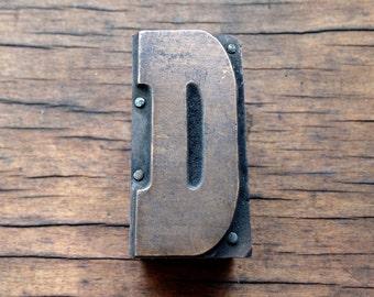 Antique Copper on wood Printers Block - Letter D