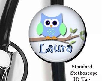 Owl Stethoscope ID Tag, Stethoscope Name Tag, Nurse Stethoscope Name Tag, Respiratory Stethoscope ID Tag, MD Stethoscope Tag, Customizable