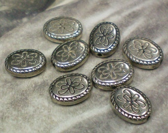 Oval Silver Beads