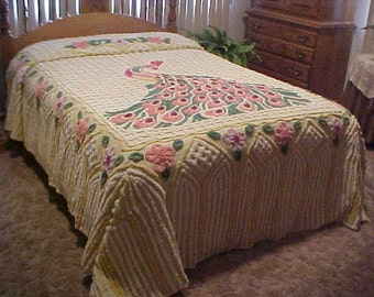 Very Nice Vintage 1940's  Peacock chenille bedspread - size 92X100 inches