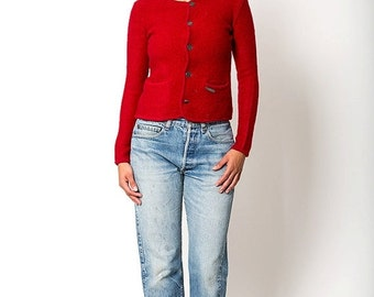 30% off SPRING SALE The Vintage Red Hammerschmid Wool Coin Button Cardigan Sweater
