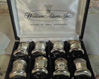 VINTAGE Silver Plated set of 6 Salt and Pepper Shakers - William Adams, Inc - Towle Silversmiths - 1950 Era