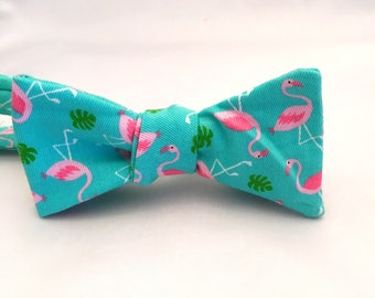 Flamingo Self Tie Bow Tie - Mens Bow Tie - Turquoise Bow Tie - Mens Tie - Tropical Bow Tie -Hawaiian Bow Tie - Beach Bow Tie - Father's Day