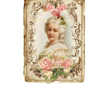 "Victorian Lady Collage Cotton Fabric Quilt Block (1) @ 5X7"" on 8.5X11"" Sheet"