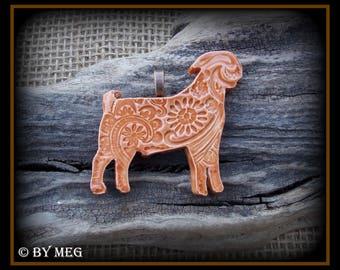 """Boer Goat Jewelry Pendant, Glazed Earthenware, Ceramic Approx 2"""" Wide"""