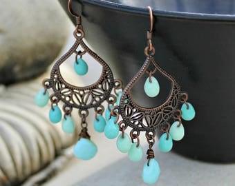 Bohemian Chandelier Earrings, Peruvian Opal Gemstone, Blue, Green