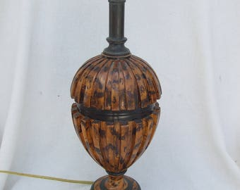Vintage Maitland Smith Carved Wood Lamp