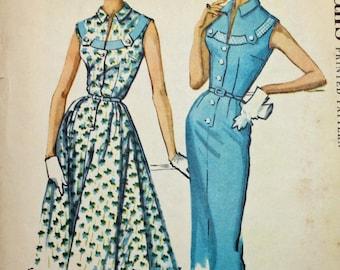 Vintage, 1950s Sewing Pattern, McCall's 4520, Misses' Tab Dress With Slim or Full Skirt, Misses' Size 14, UNCUT, FF