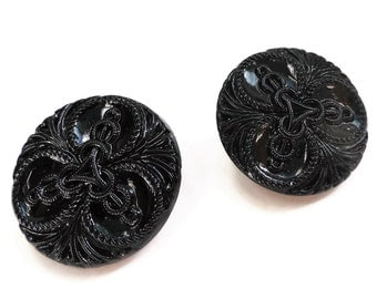 Ornate Glass Vintage Buttons - 2 Antique 1940s Black High Fashion for Jewelry Beads Sewing Knitting