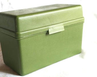 Vintage Large Green Plastic 1966 Index Card File Box