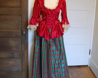Satin red Marie Antoinette Victorian inspired rococo costume dress christmas holiday Top only