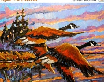 On Sale Flight Navigations Geese in  Motion - Large Autumn Landscape - Original Oil Painting Created by Prankearts