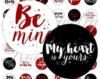 Printable valentines phrases for bottle caps, pendant, buttons, scrapbook and more Vintage Digital Collage Sheet No.1694