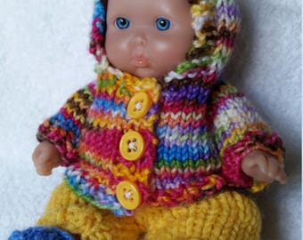 Berenguer Baby Doll Colorful Knit Hooded Sweater & Pants Set fits Itty Bitty Chubby 5 inch Berenguer Baby Dolls
