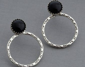 Black onyx stud earrings ear jacket earrings double sided front back earrings onyx jewelry celestial sterling silver hoop earrings ear wraps