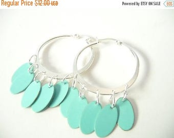 ON SALE Silver Hoops with Turquoise Ovals  - Turquoise Hoop Earrings