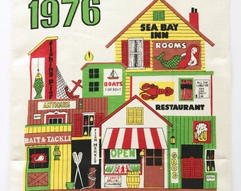 1976 Calendar Tea Towel Mermaid Seaport Village City Shops Restaurants Beach House Decor