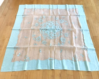 Vintage Square Tablecloth Organdy Fabric Madeira Applique Floral Table Cloth